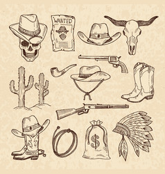 western symbols cowboy guns saloon and other vector image