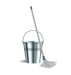 Bucket and mop on white background vector image vector image