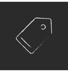 Empty tag icon drawn in chalk vector image