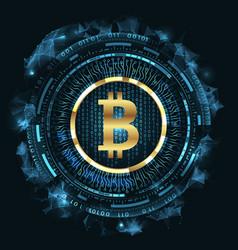 golden bitcoin digital currency futuristic money vector image