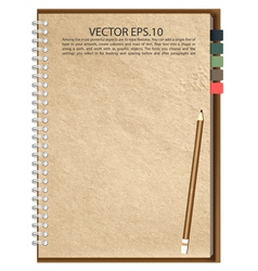 Old Brown paper Notebook vector image vector image