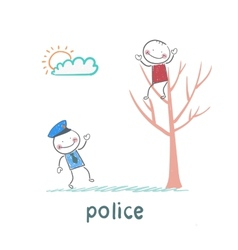 Police near the tree on which sits a criminal vector image