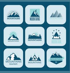 set of mountain exploration vintage emblems vector image