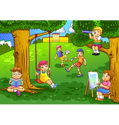 a kids playing in the garden vector image