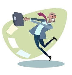African businessman throws the briefcase with vector image vector image