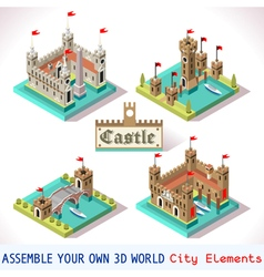 Castle 03 Tiles Isometric vector image vector image