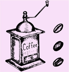 Coffee grinder mill beans vector