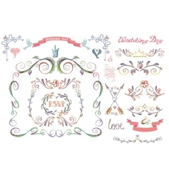 Cute wedding template setFloral Decor element vector image