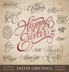 easter greetings hand lettering set vector image