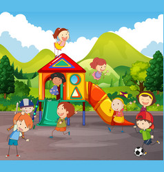 many children playing in playground vector image vector image