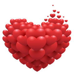 red hearts on heart shape symbol of love vector image vector image