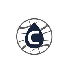Water oil world letter c vector