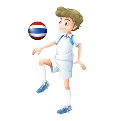 A player using the ball with the flag of Thailand vector image vector image
