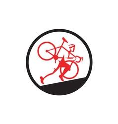 Cyclocross athlete running uphill circle vector