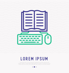 e-book thin line icon opened book with keyboard vector image