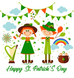 saint patrick s day background with people vector image