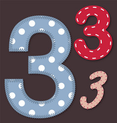Set of stitched font - 3 Three vector image vector image