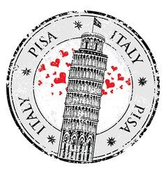 Stamp love heart pisa tower in italy vector