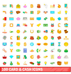100 card and cash icons set cartoon style vector