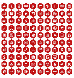 100 globe icons hexagon red vector