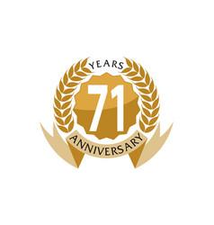 71 years ribbon anniversary vector