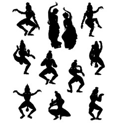 A collection silhouettes people in indian vector