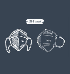 a set medical masks graphic hand vector image