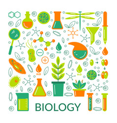 a set of scientific biological icons vector image