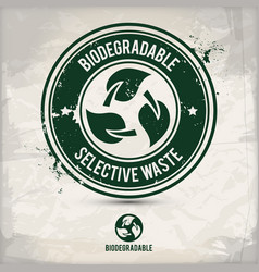 alternative biodegradable waste stamp vector image