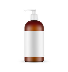 Amber cosmetic plastic pump bottle mockup vector