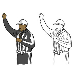 American football referee with hand gesture vector