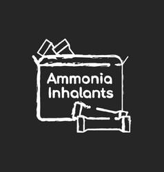 Ammonia inhalants chalk white icon on black vector