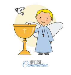 Angel with chalice and white dove vector