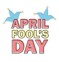 april fools day text and funny element vector image