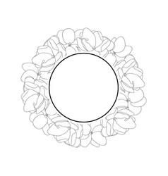 Arabian jasmine outline banner wreath vector