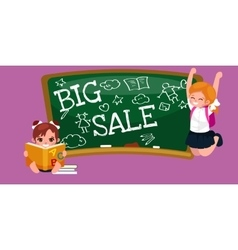 Back to school summer sale background boy and vector