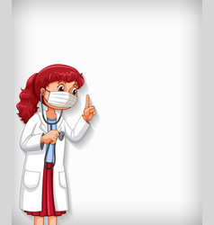 Background template design with female doctor vector