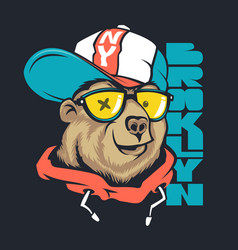bear in cap print design for t-shirt vector image