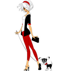 beautiful woman with a dog vector image