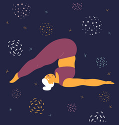 body positive woman makes asana in space vector image