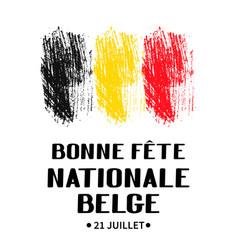 Bonne fete nationale belge happy belgian national vector