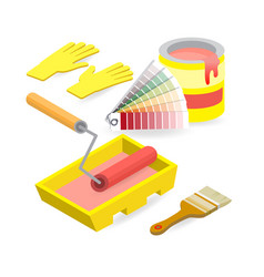 brush roller palette gloves isometric vector image