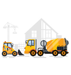 building auto crane and project cement vector image