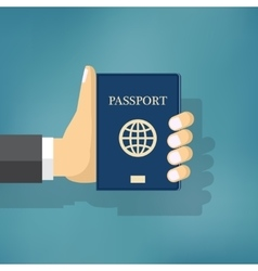 Businessman Hand Hold Passport vector