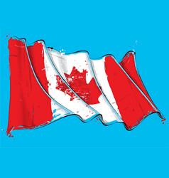 canadian artistic brush stroke waving flag vector image