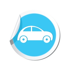 car icon round blue vector image