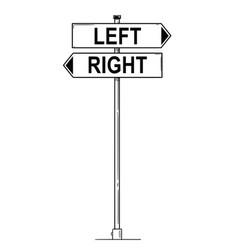 Cartoon drawing of left and right pointing arrow vector