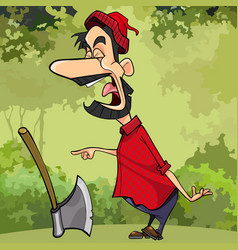 Cartoon screaming a woodcutter in the forest vector