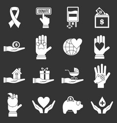 Charity icons set grey vector
