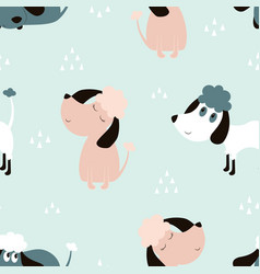 childish seamless pattern with dogs vector image